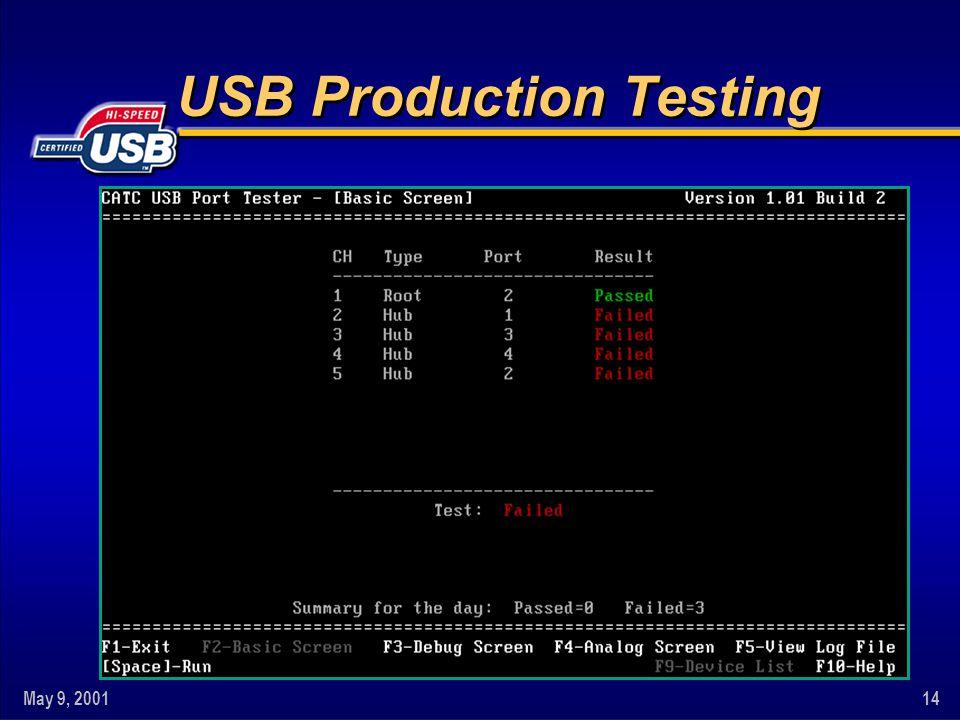 May 9, 200114 USB Production Testing