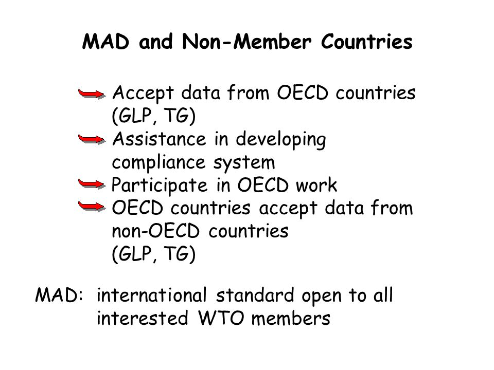Accept data from OECD countries (GLP, TG) Assistance in developing compliance system Participate in OECD work OECD countries accept data from non-OECD