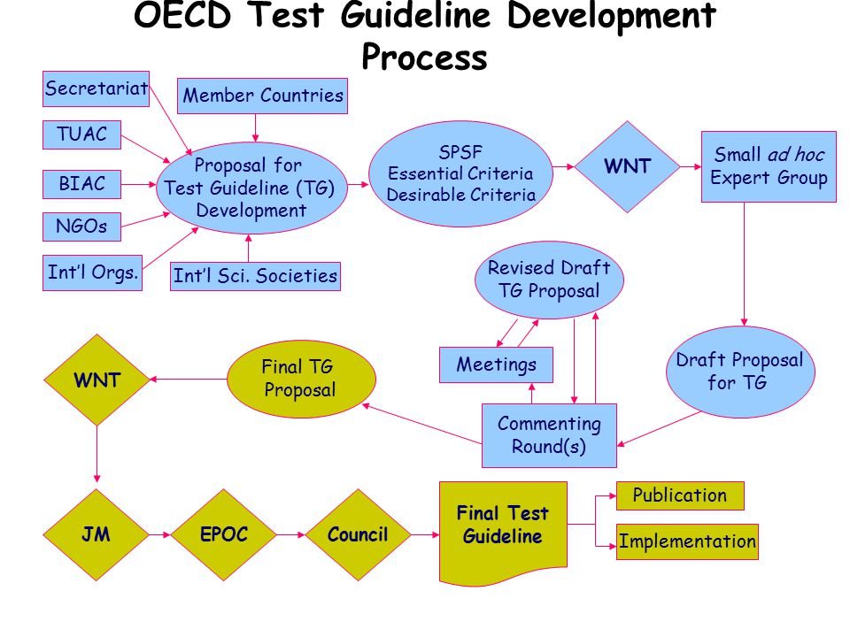 Member Countries TUAC BIAC NGOs Int'l Sci. Societies Secretariat Int'l Orgs. Proposal for Test Guideline (TG) Development WNT Draft Proposal for TG Me