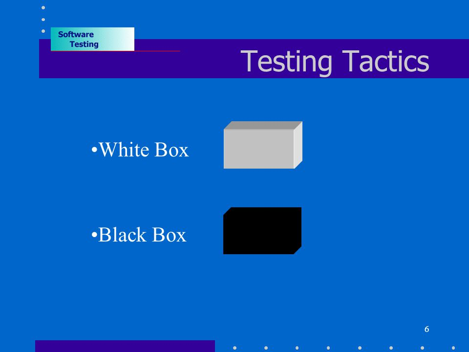 6 Testing Tactics White Box Black Box
