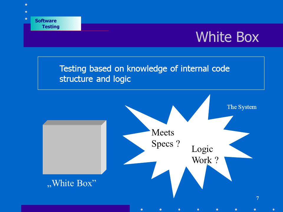 "7 White Box Testing based on knowledge of internal code structure and logic ""White Box Logic Work ."