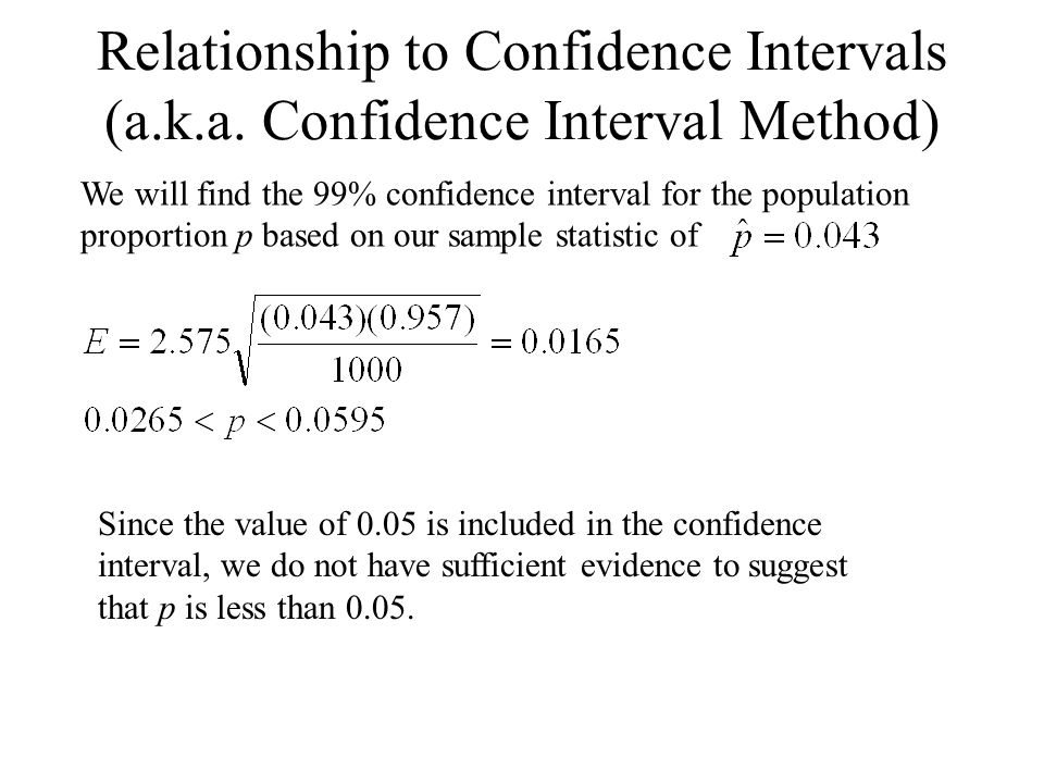 Relationship to Confidence Intervals (a.k.a.