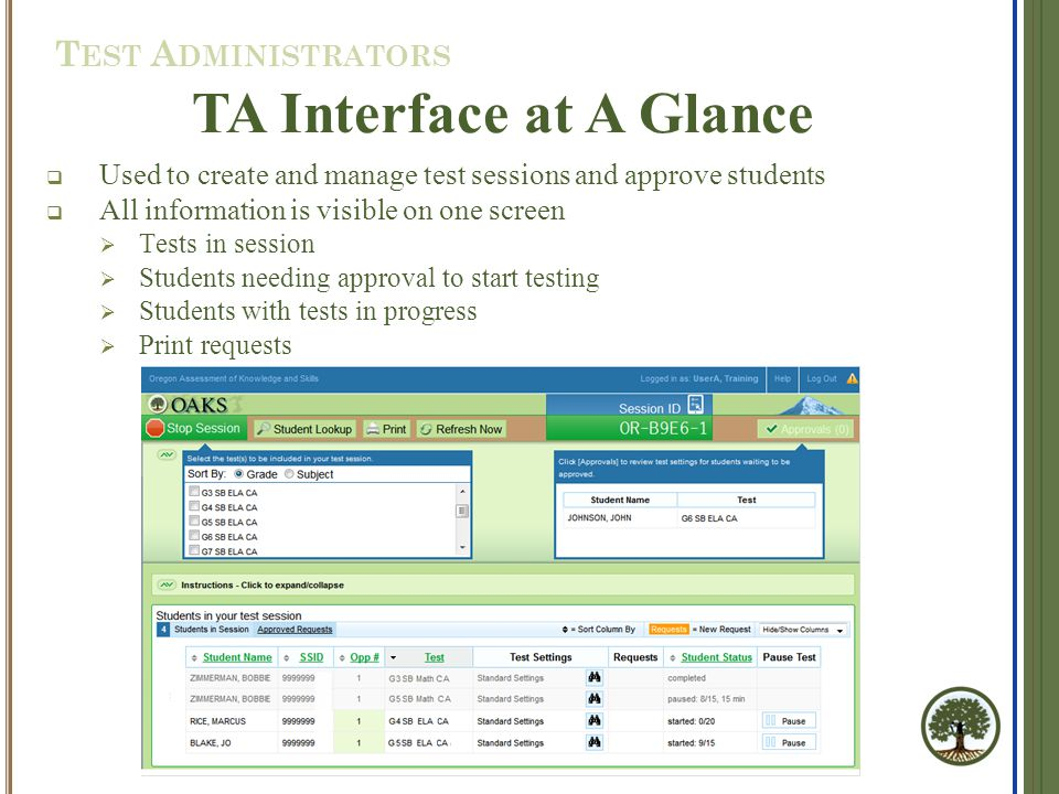  Used to create and manage test sessions and approve students  All information is visible on one screen  Tests in session  Students needing approv
