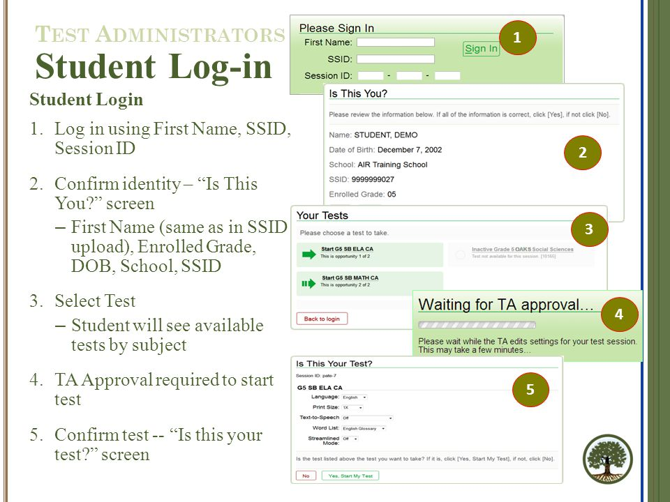 Student Login 1.Log in using First Name, SSID, Session ID 2.Confirm identity – Is This You screen – First Name (same as in SSID upload), Enrolled Grade, DOB, School, SSID 3.Select Test – Student will see available tests by subject 4.TA Approval required to start test 5.Confirm test -- Is this your test screen 1 Student Log-in 2 3 4 5 T EST A DMINISTRATORS