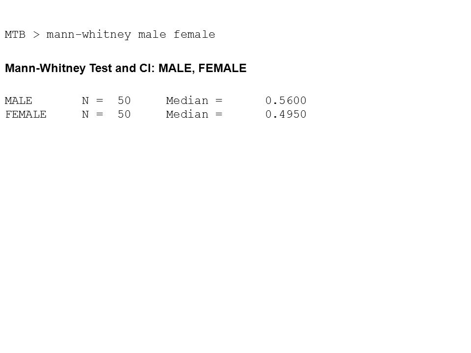 MTB > mann-whitney male female Mann-Whitney Test and CI: MALE, FEMALE MALE N = 50 Median = 0.5600 FEMALE N = 50 Median = 0.4950