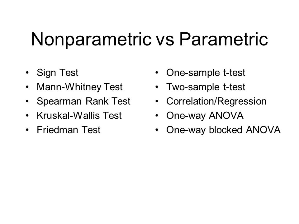 Nonparametric vs Parametric Sign Test Mann-Whitney Test Spearman Rank Test Kruskal-Wallis Test Friedman Test One-sample t-test Two-sample t-test Correlation/Regression One-way ANOVA One-way blocked ANOVA