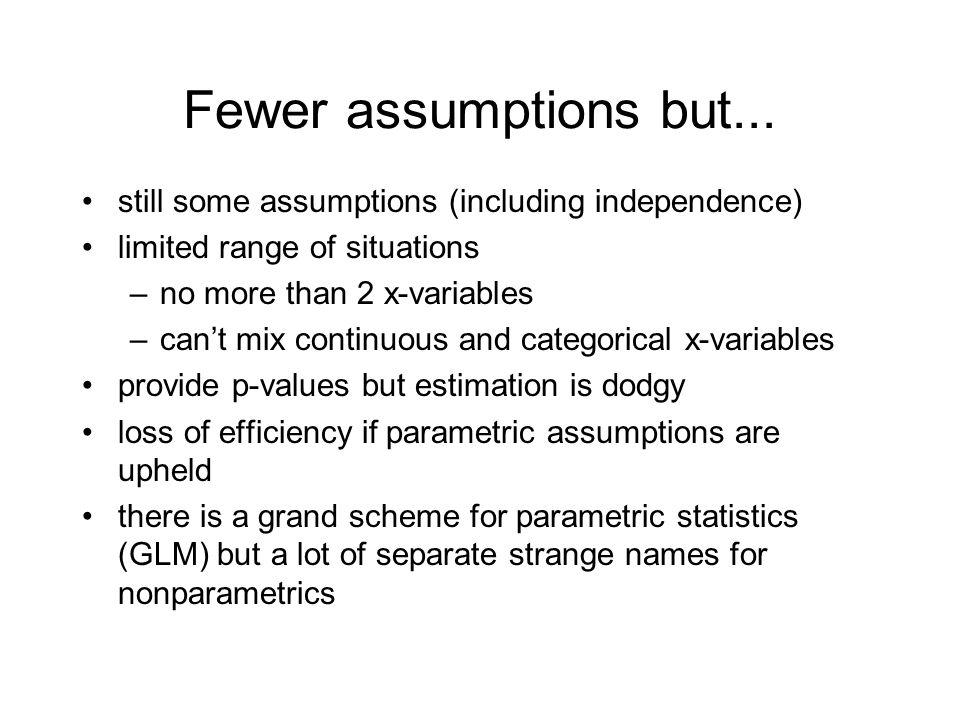Fewer assumptions but...
