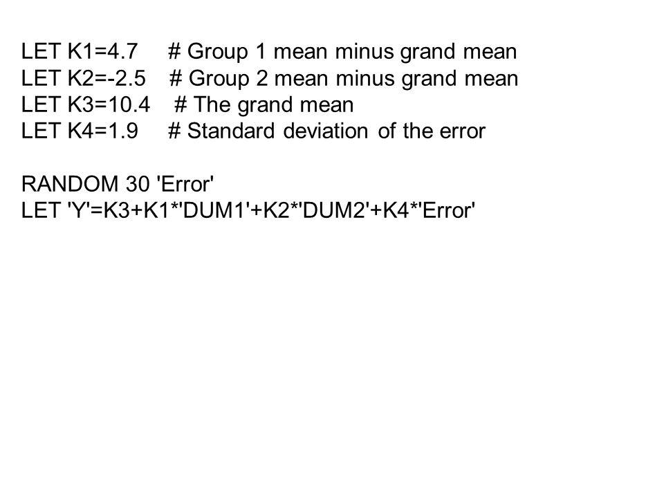 LET K1=4.7 # Group 1 mean minus grand mean LET K2=-2.5 # Group 2 mean minus grand mean LET K3=10.4 # The grand mean LET K4=1.9 # Standard deviation of the error RANDOM 30 Error LET Y =K3+K1* DUM1 +K2* DUM2 +K4* Error