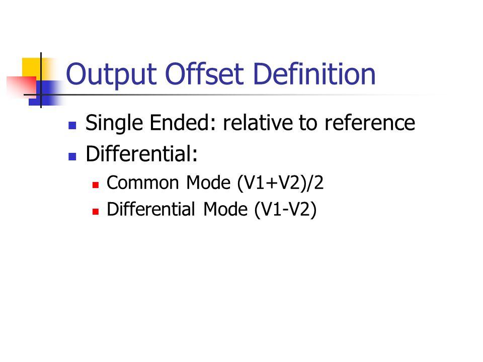 Output Offset Definition Single Ended: relative to reference Differential: Common Mode (V1+V2)/2 Differential Mode (V1-V2)