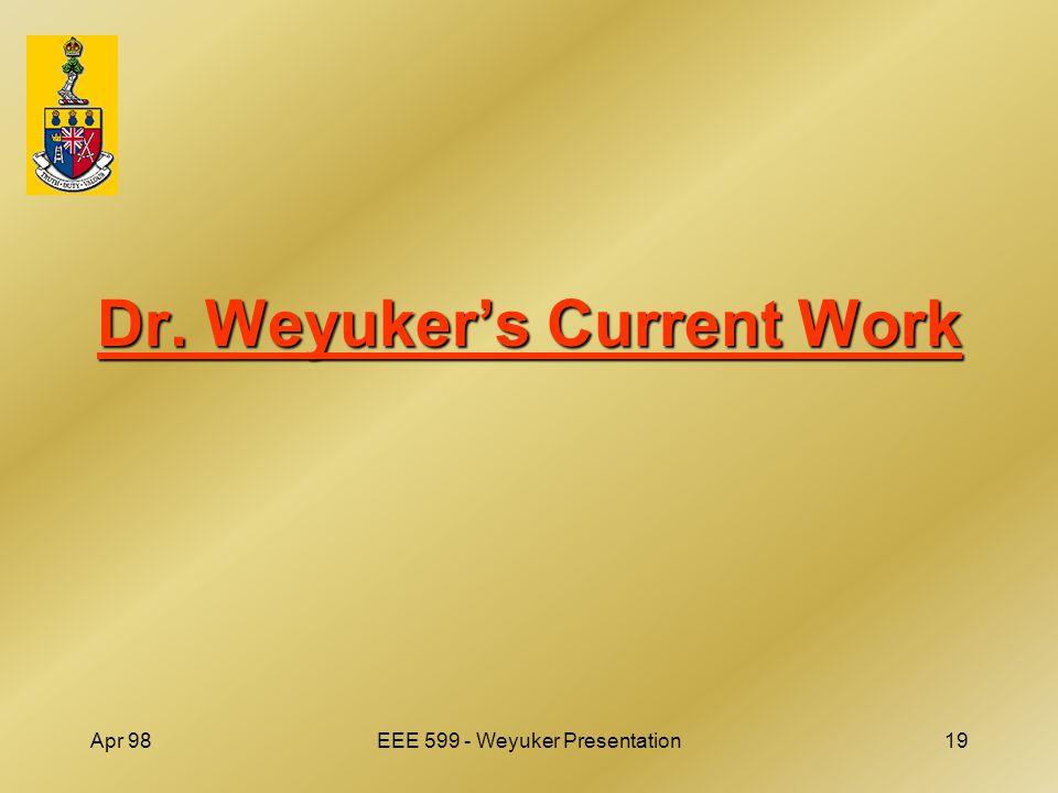 Apr 98EEE 599 - Weyuker Presentation19 Dr. Weyuker's Current Work