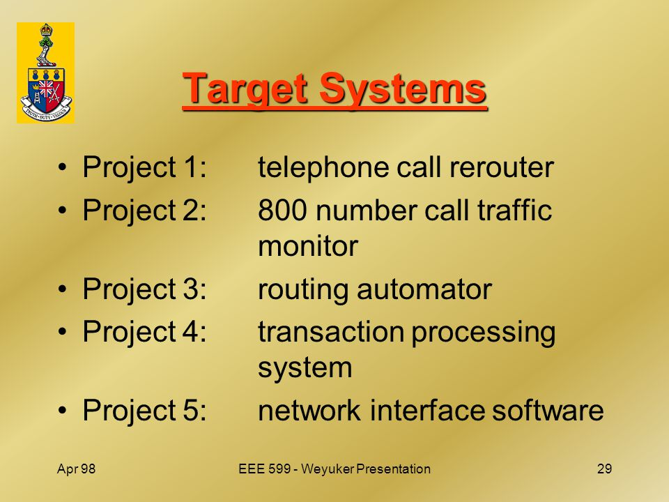 Apr 98EEE 599 - Weyuker Presentation29 Target Systems Project 1:telephone call rerouter Project 2:800 number call traffic monitor Project 3:routing automator Project 4:transaction processing system Project 5: network interface software