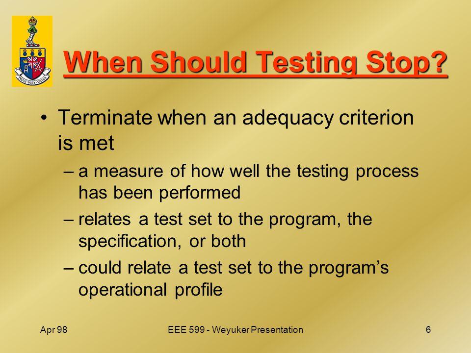 Apr 98EEE 599 - Weyuker Presentation6 When Should Testing Stop.