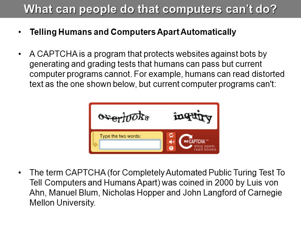 What can people do that computers can't do.