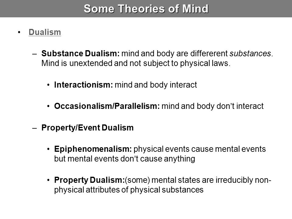 Some Theories of Mind Dualism –Substance Dualism: mind and body are differerent substances. Mind is unextended and not subject to physical laws. Inter