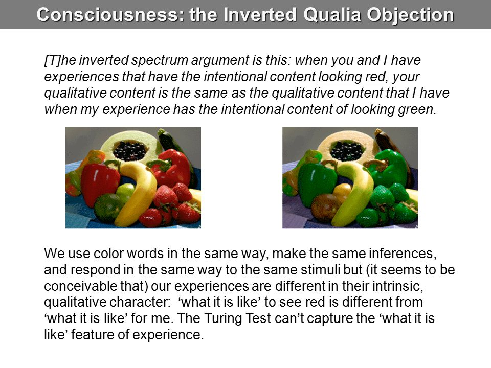 Consciousness: the Inverted Qualia Objection [T]he inverted spectrum argument is this: when you and I have experiences that have the intentional conte