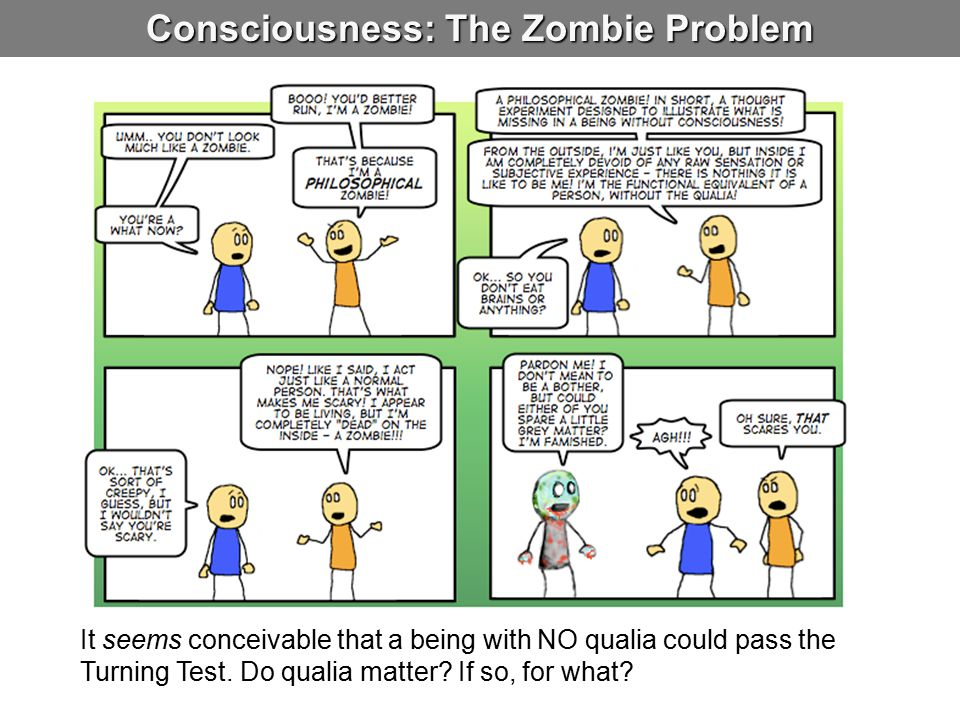 Consciousness: The Zombie Problem It seems conceivable that a being with NO qualia could pass the Turning Test. Do qualia matter? If so, for what?