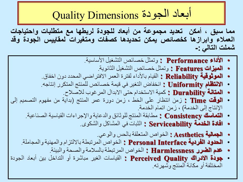 أبعاد الجودة Quality Dimensions الأداء Performance : الأداء Performance : وتمثل خصائص التشغيل الأساسية. الميزات Features : الميزات Features : وتمثل خص