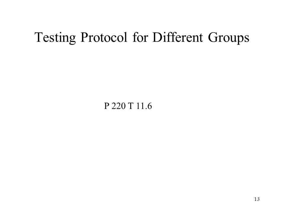 13 Testing Protocol for Different Groups P 220 T 11.6