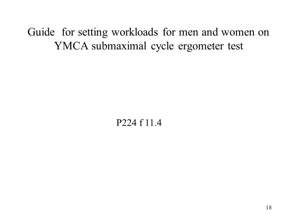 18 Guide for setting workloads for men and women on YMCA submaximal cycle ergometer test P224 f 11.4