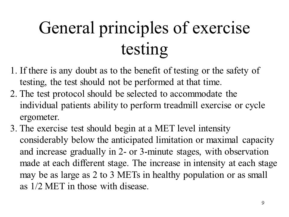 9 General principles of exercise testing 1.