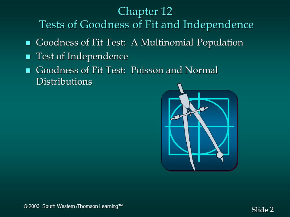 2 2 Slide © 2003 South-Western /Thomson Learning™ Chapter 12 Tests of Goodness of Fit and Independence n Goodness of Fit Test: A Multinomial Population n Test of Independence n Goodness of Fit Test: Poisson and Normal Distributions