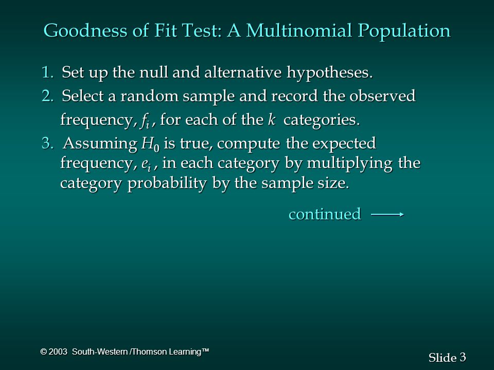 3 3 Slide © 2003 South-Western /Thomson Learning™ Goodness of Fit Test: A Multinomial Population 1.