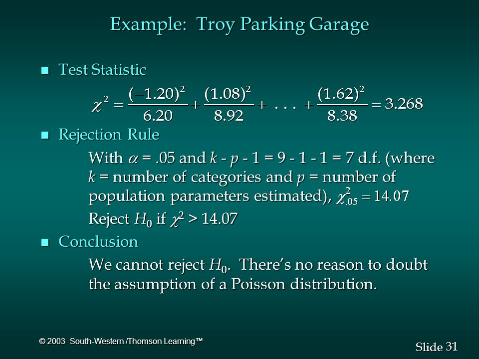 31 Slide © 2003 South-Western /Thomson Learning™ n Test Statistic n Rejection Rule With  =.05 and k - p - 1 = 9 - 1 - 1 = 7 d.f.