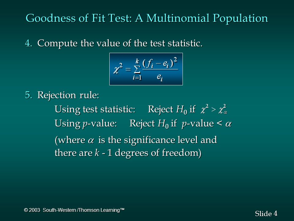 4 4 Slide © 2003 South-Western /Thomson Learning™ Goodness of Fit Test: A Multinomial Population 4.