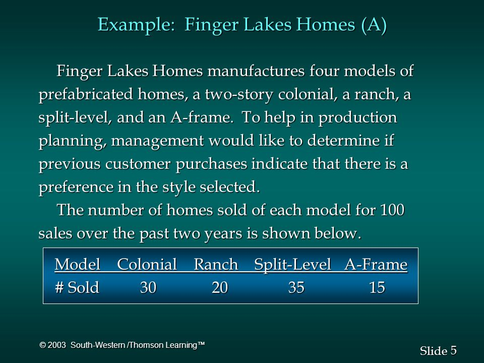 5 5 Slide © 2003 South-Western /Thomson Learning™ Example: Finger Lakes Homes (A) Finger Lakes Homes manufactures four models of prefabricated homes, a two-story colonial, a ranch, a split-level, and an A-frame.