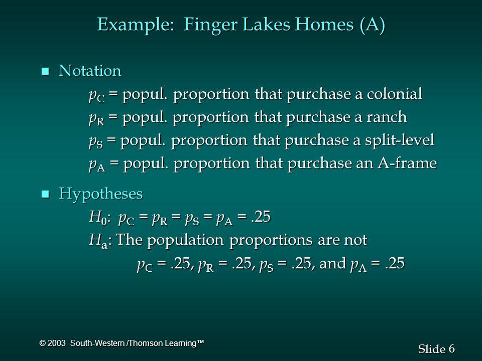 7 7 Slide © 2003 South-Western /Thomson Learning™ Example: Finger Lakes Homes (A) n Expected Frequencies e 1 =.25(100) = 25 e 2 =.25(100) = 25 e 1 =.25(100) = 25 e 2 =.25(100) = 25 e 3 =.25(100) = 25 e 4 =.25(100) = 25 e 3 =.25(100) = 25 e 4 =.25(100) = 25 n Test Statistic = 1 + 1 + 4 + 4 = 10