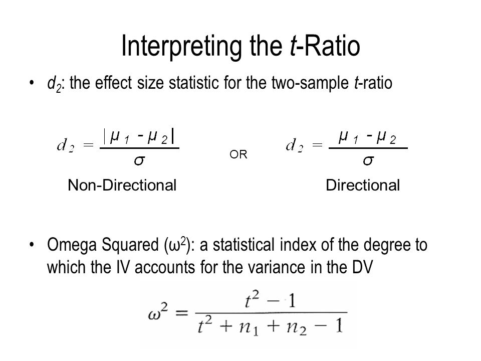 Interpreting the t -Ratio d 2 : the effect size statistic for the two-sample t -ratio Omega Squared (ω 2 ): a statistical index of the degree to which