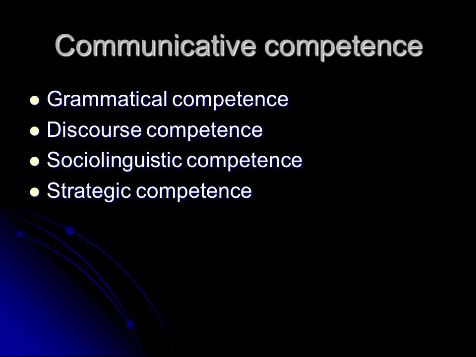 Communicative competence Grammatical competence Grammatical competence Discourse competence Discourse competence Sociolinguistic competence Sociolinguistic competence Strategic competence Strategic competence