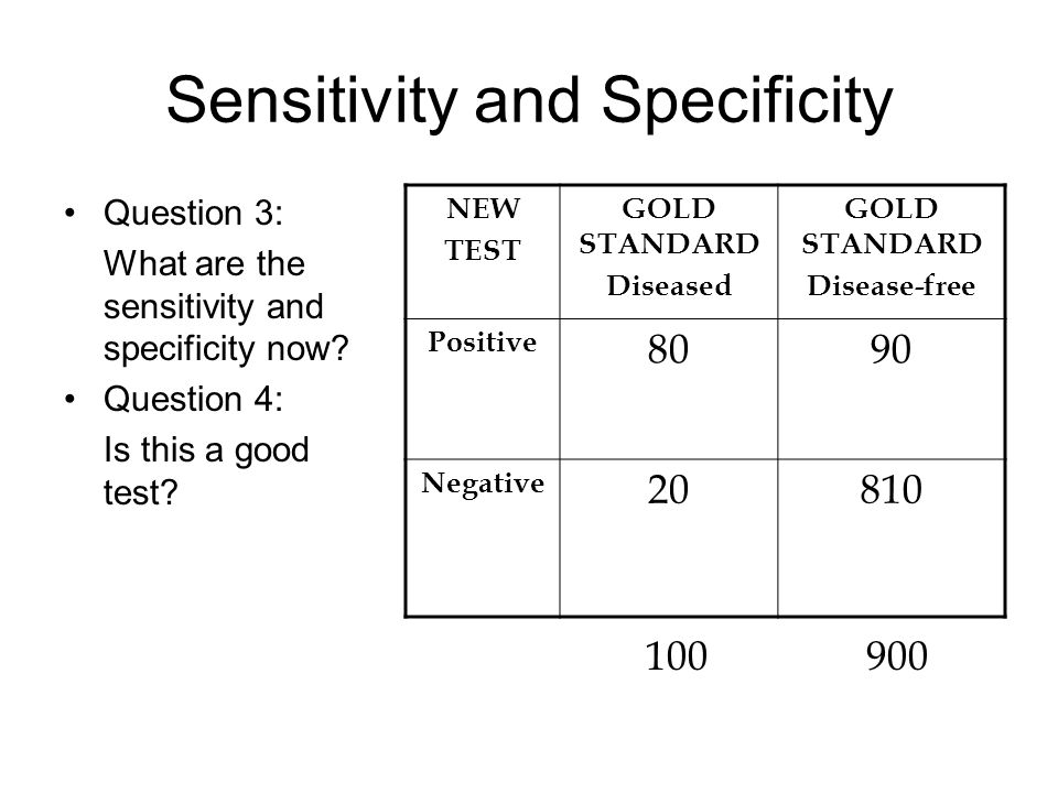 Answers to 3 and 4 Sensitivity = 80/100=80% Specificity = 810/900=90% Specificity and Sensitivity do not change when you overuse the test, but the value of the positive result is less Good test.