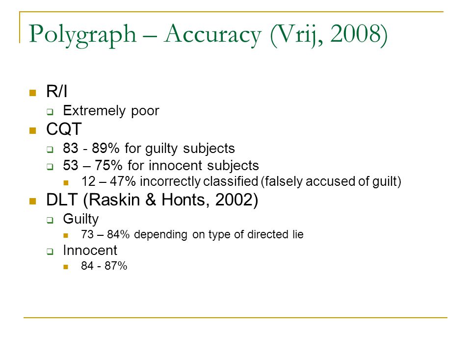 Polygraph – Accuracy (Vrij, 2008) R/I  Extremely poor CQT  83 - 89% for guilty subjects  53 – 75% for innocent subjects 12 – 47% incorrectly classified (falsely accused of guilt) DLT (Raskin & Honts, 2002)  Guilty 73 – 84% depending on type of directed lie  Innocent 84 - 87%