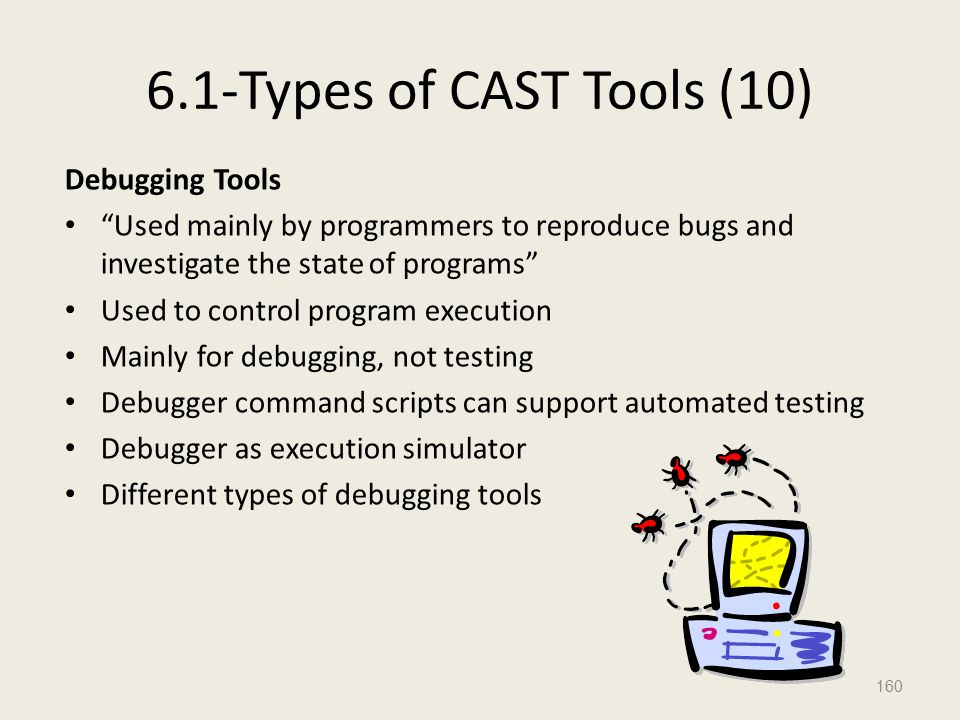 6.1-Types of CAST Tools (10) Debugging Tools Used mainly by programmers to reproduce bugs and investigate the state of programs Used to control program execution Mainly for debugging, not testing Debugger command scripts can support automated testing Debugger as execution simulator Different types of debugging tools 160