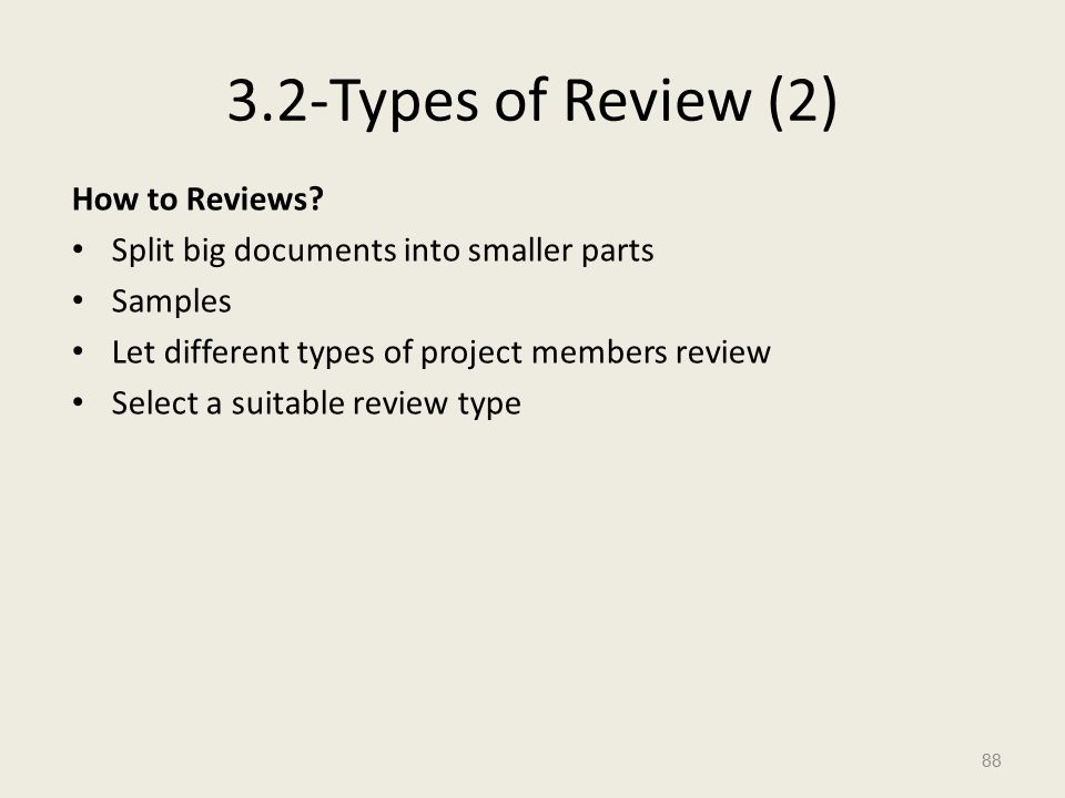 3.2-Types of Review (2) How to Reviews.