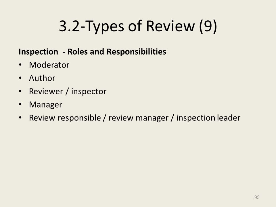 3.2-Types of Review (9) Inspection - Roles and Responsibilities Moderator Author Reviewer / inspector Manager Review responsible / review manager / inspection leader 95