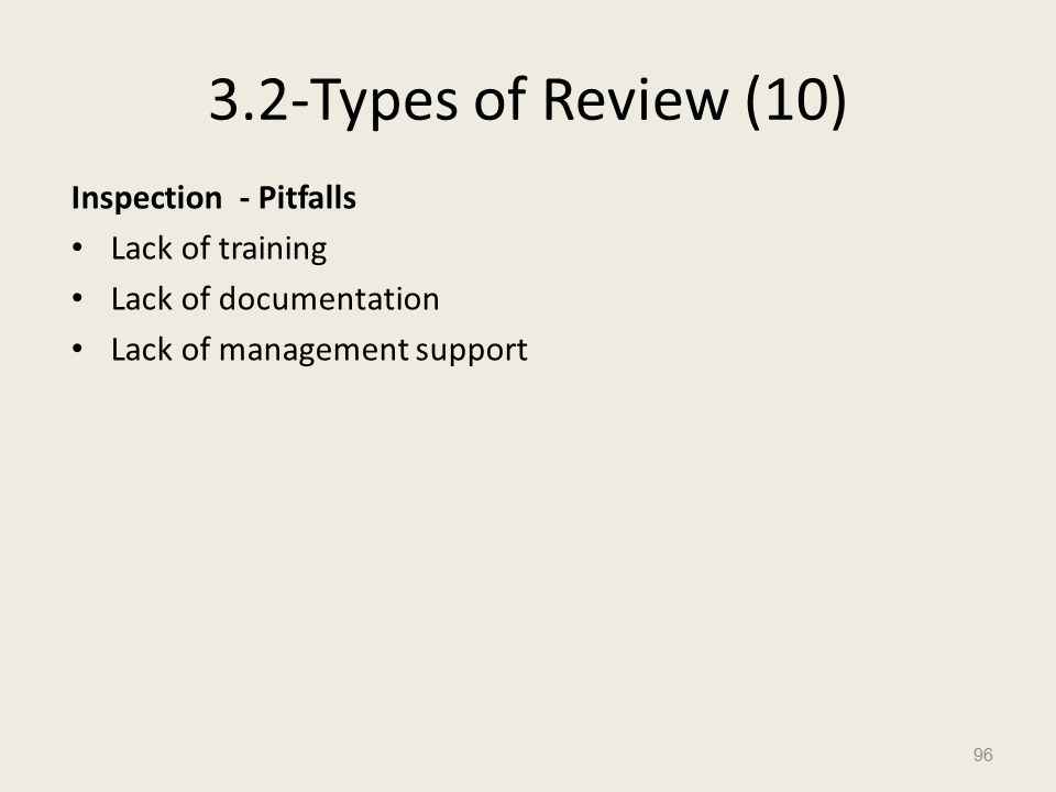 3.2-Types of Review (10) Inspection - Pitfalls Lack of training Lack of documentation Lack of management support 96