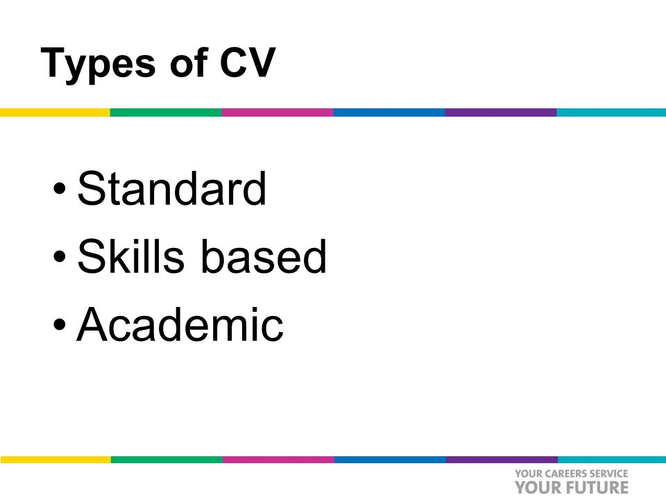 Types of CV Standard Skills based Academic