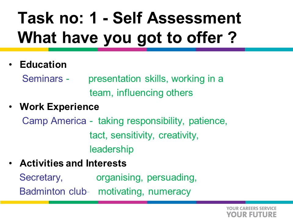Task no: 1 - Self Assessment What have you got to offer .