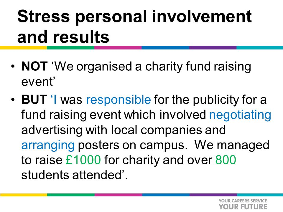 Stress personal involvement and results NOT 'We organised a charity fund raising event' BUT 'I was responsible for the publicity for a fund raising event which involved negotiating advertising with local companies and arranging posters on campus.