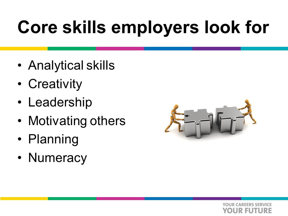 Core skills employers look for Analytical skills Creativity Leadership Motivating others Planning Numeracy