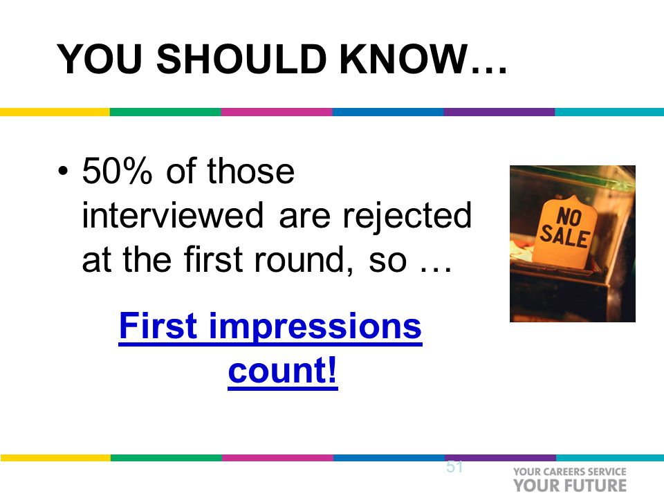 YOU SHOULD KNOW… 50% of those interviewed are rejected at the first round, so … First impressions count.