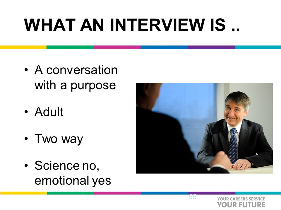 WHAT AN INTERVIEW IS.. A conversation with a purpose Adult Two way Science no, emotional yes 55
