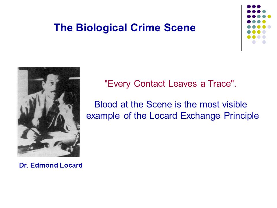 The Biological Crime Scene Every Contact Leaves a Trace .