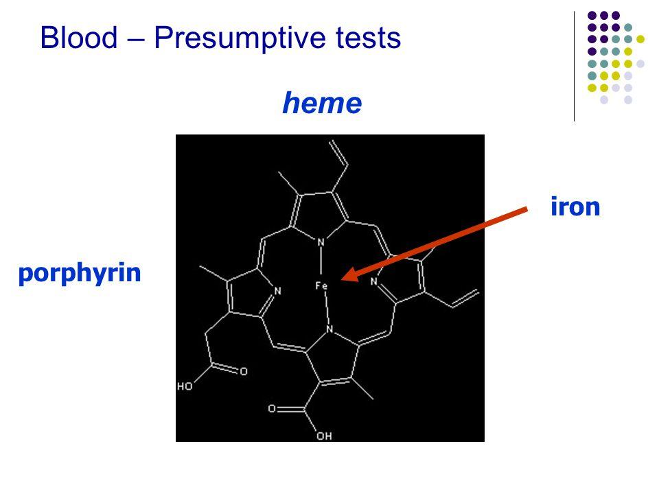 Blood – Presumptive tests heme porphyrin iron