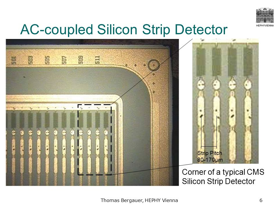 Thomas Bergauer, HEPHY Vienna6 AC-coupled Silicon Strip Detector Corner of a typical CMS Silicon Strip Detector Strip Pitch 80-170μm