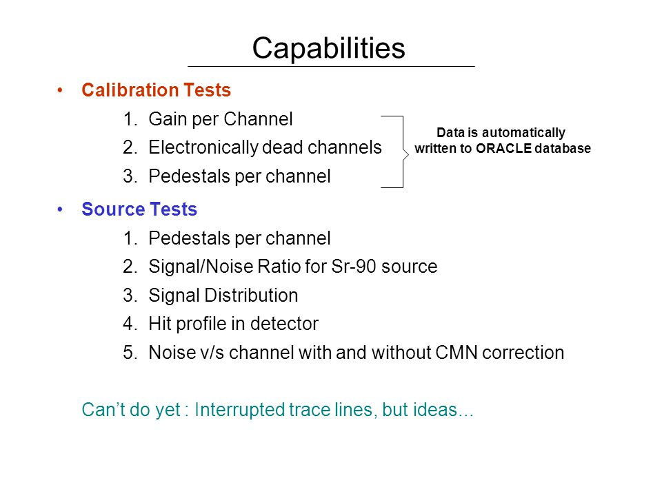 Calibration Tests 1. Gain per Channel 2. Electronically dead channels 3.