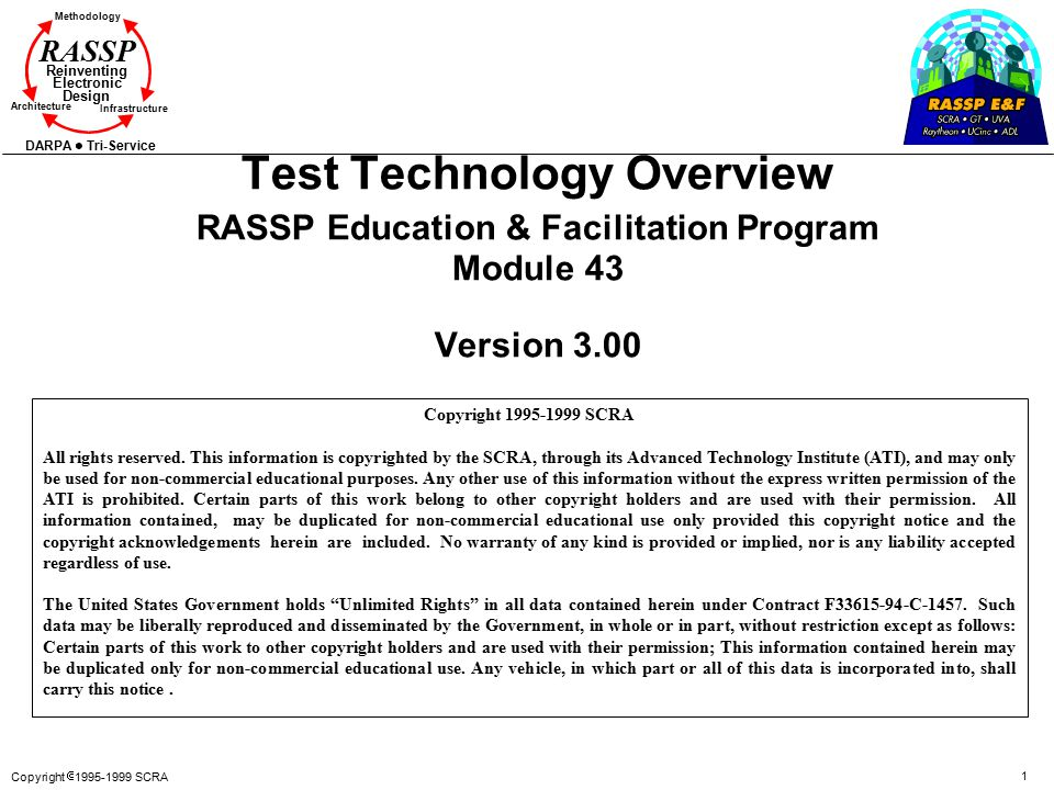 Copyright  1995-1999 SCRA 1 Methodology Reinventing Electronic Design Architecture Infrastructure DARPA Tri-Service RASSP Test Technology Overview RASSP Education & Facilitation Program Module 43 Version 3.00 Copyright 1995-1999 SCRA All rights reserved.