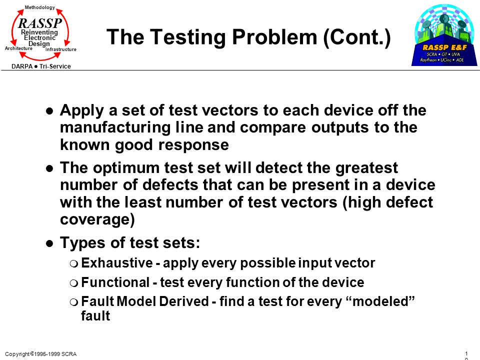 Copyright  1995-1999 SCRA 1010 Methodology Reinventing Electronic Design Architecture Infrastructure DARPA Tri-Service RASSP The Testing Problem (Cont.) l Apply a set of test vectors to each device off the manufacturing line and compare outputs to the known good response l The optimum test set will detect the greatest number of defects that can be present in a device with the least number of test vectors (high defect coverage) l Types of test sets: m Exhaustive - apply every possible input vector m Functional - test every function of the device m Fault Model Derived - find a test for every modeled fault